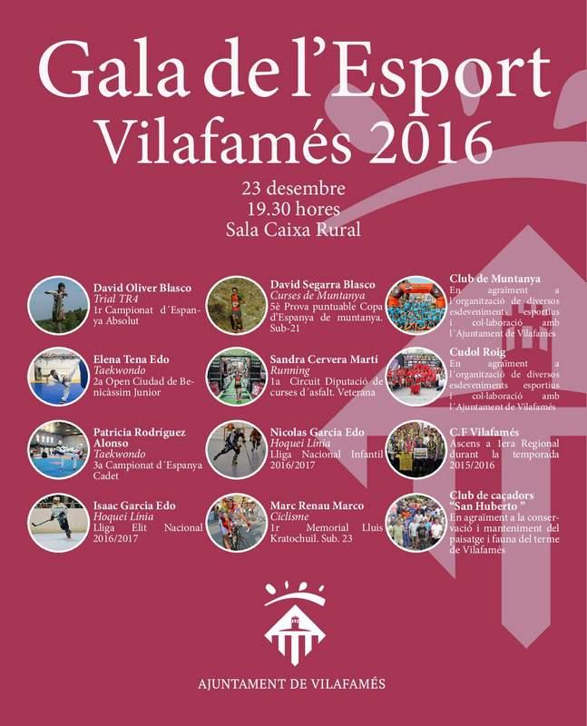 Cartell Gala de l'Esport de Vilafamés